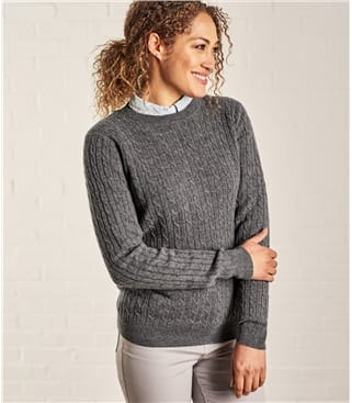 Pullover mit Rundhalsausschnitt und Zopfmuster aus Merino- und Kaschmirwolle für Damen