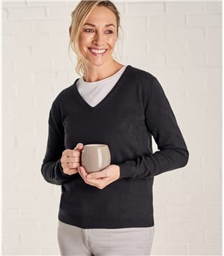 Womens Cashmere and Merino V Neck Knitted Sweater