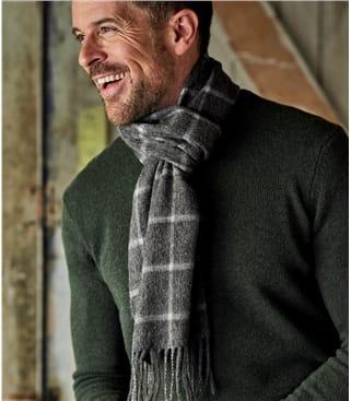 Mens Pure Wool Window Pane Scarf