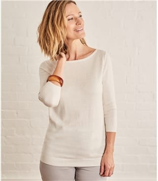 Womens Cotton Silk Boat Neck 3/4 Sleeve Sweater