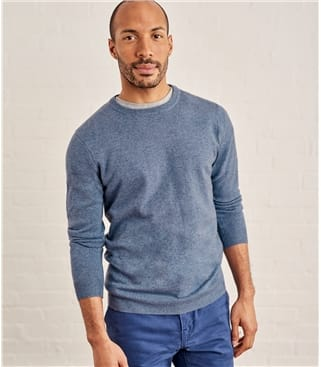 Pull à col rond - Homme - Cachemire & Mérinos