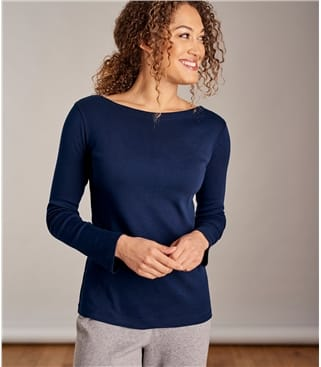 Womens Boat Neck Brushed Cotton Top