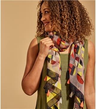 Womens 100% Wool Spot & Tassle Scarf 100cm X 180cm