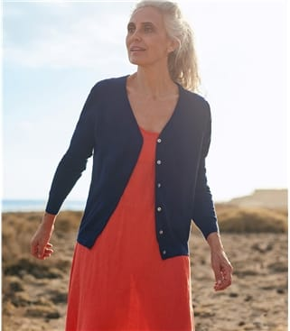 Womens Silk and Cotton Soft Feel V Neck Cardigan