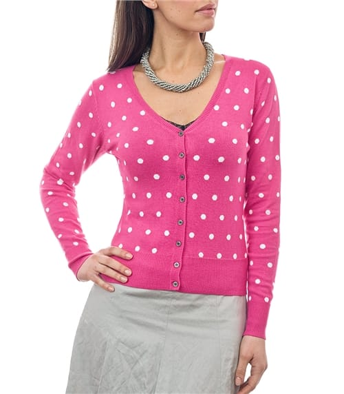 Womens Silk and Cotton Spot V Neck Cardigan