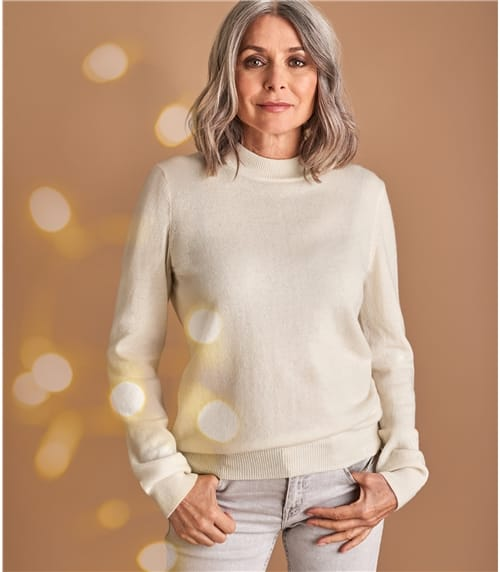 Womens Cashmere and Merino Turtle Neck Sweater