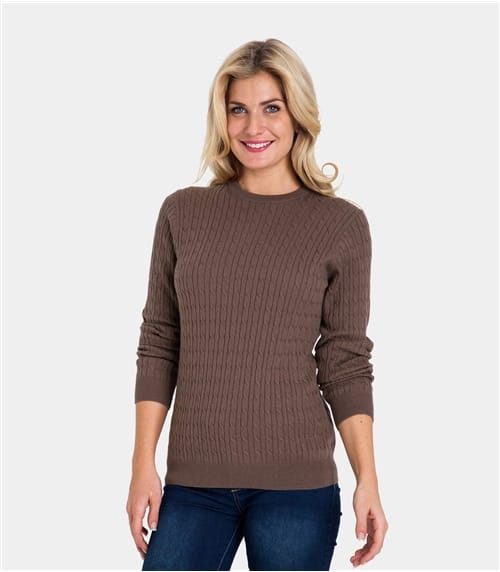Womens Cashmere and Cotton Cable Crew Neck Sweater