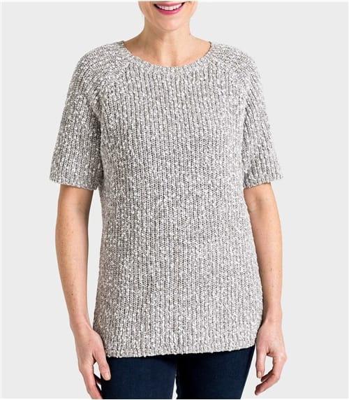 Женский джемпер с короткими рукавами из льна и хлопка