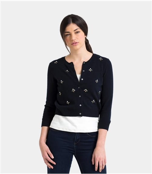 Womens Cashmere and Merino Embellished Crop Crew Cardigan