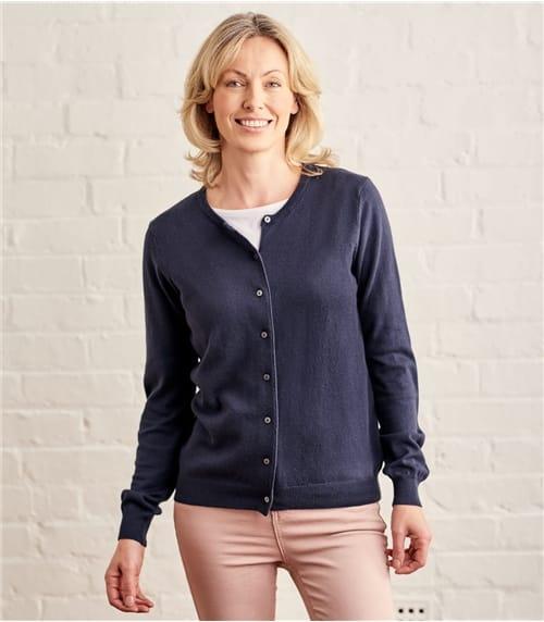 Womens Silk Cotton Crew Neck Cardigan