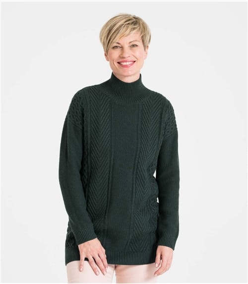 Womens Mixed Moss Stitch Turtle Neck Jumper