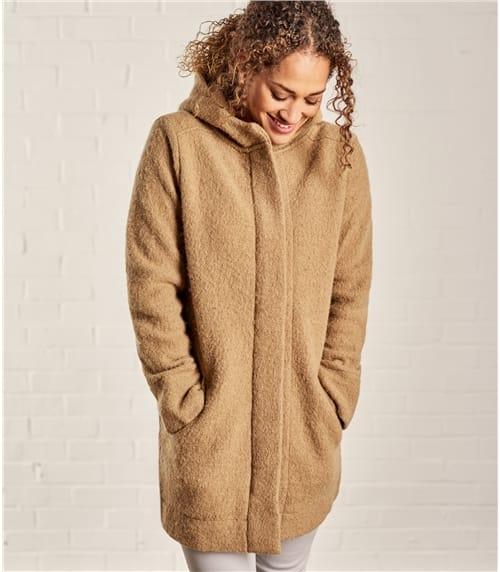 Womens Boiled Wool Hooded Coatigan