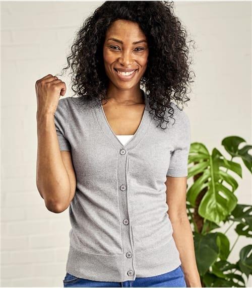 Kurzärmliger Strickjacke mit V-Ausschnitt aus Seide und Baumwolle für Damen
