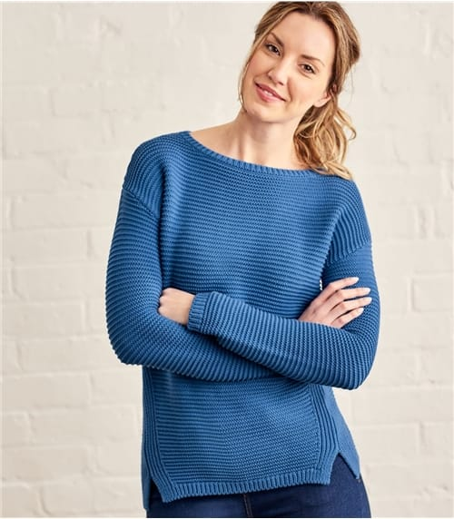 Womens Cotton Textured Boat Neck Sweater