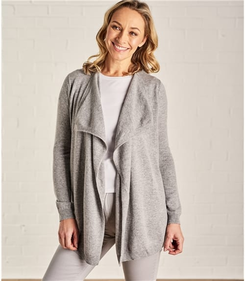 Womens Cashmere and Merino Waterfall Cardigan