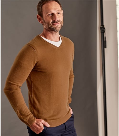 Mens Cashmere and Merino V Neck Knitted Sweater
