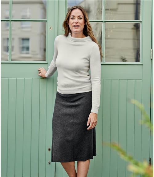 Womens Ribbed Midi Skirt