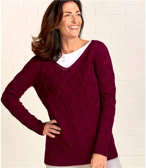 Womens Cable Knit V Neck Jumper