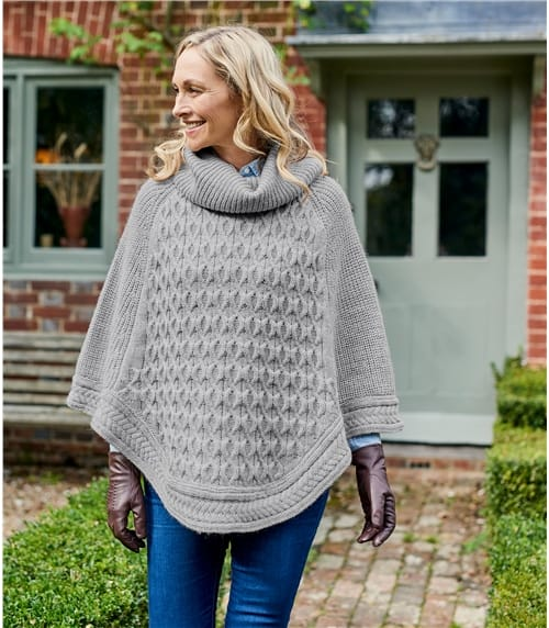 Womens Textured Roll Neck Poncho