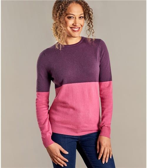 Womens Cashmere Merino Colourblock Crew Neck Sweater
