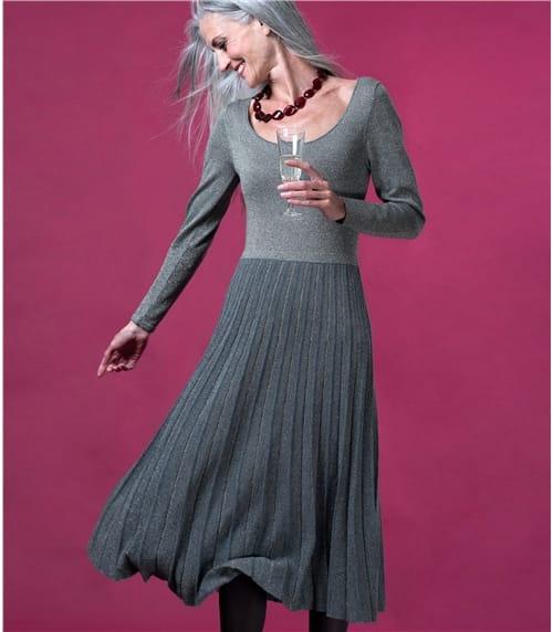 Womens Sparkle Pleat Party Dress