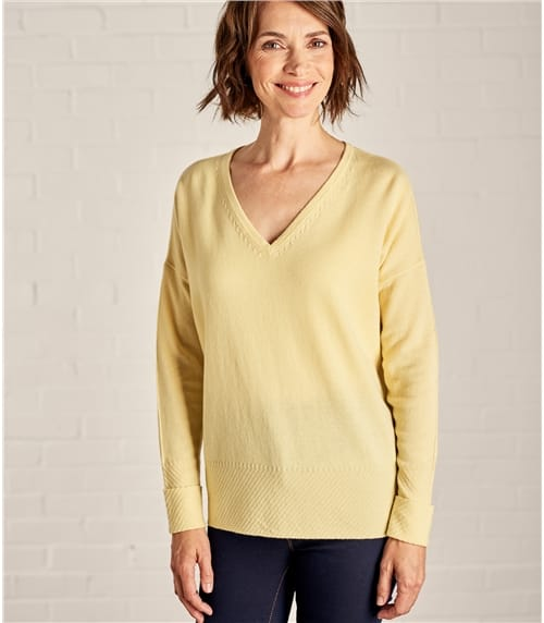 Womens Cashmere and Merino Textured Edge V Neck Sweater