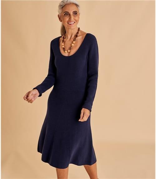 Womens A Line Wool Blend Dress