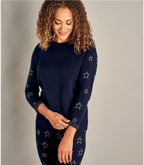 Sweatshirt mit Sterneprint aus Wollmischung für Damen