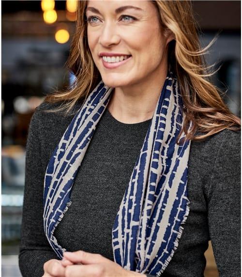 Schal mit abstraktem Druck aus reiner Wolle für Damen