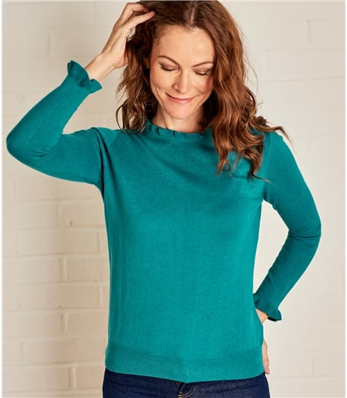 Womens Frill Neck Long Sleeve Sweater
