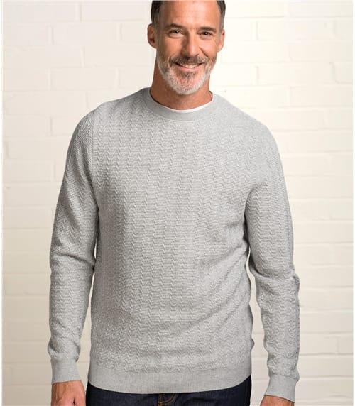 Mens Stitch Interest Crew Neck Sweater