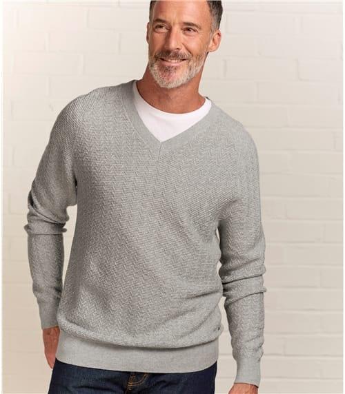 Pullover mit feinem Zopfmuster aus Wollmischung für Herren