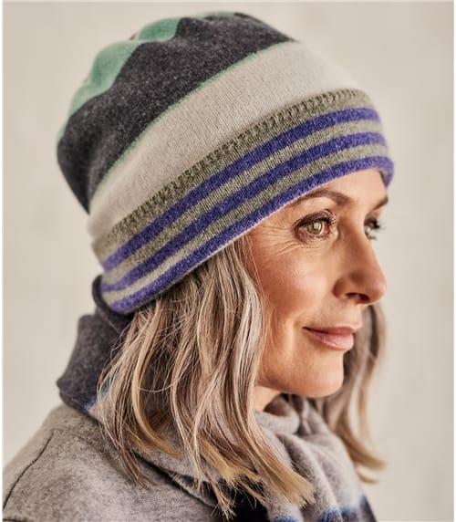 Mütze mit Streifenmuster aus Lammwolle für Damen
