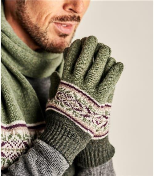 Handschuhe aus reiner Lammwolle mit Norwegermuster für Herren