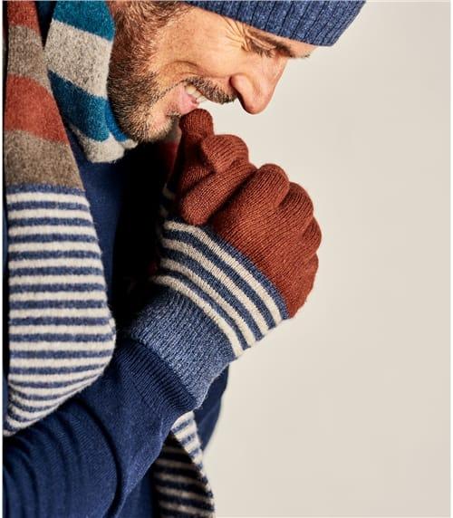 Mens Irregular Stripe Gloves