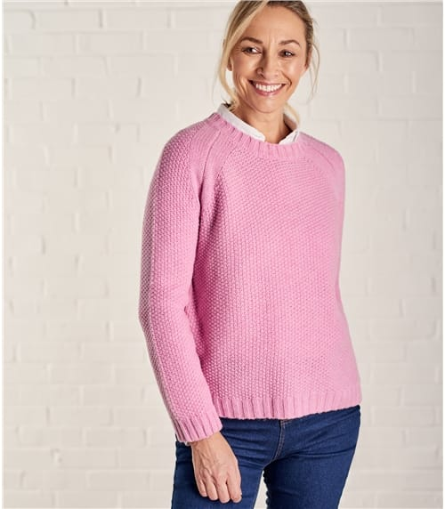 Womens Lambswool Moss Stitch Jumper