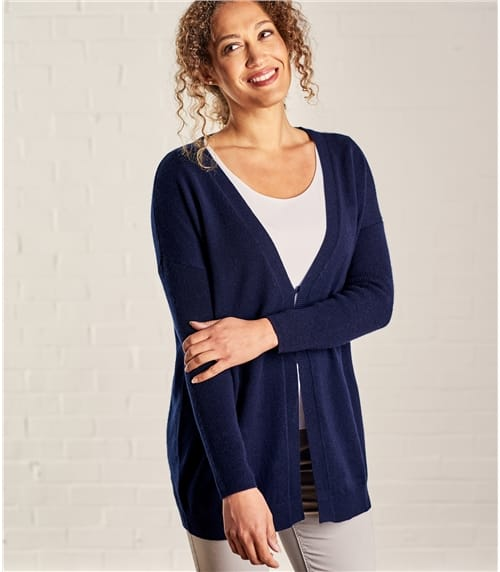 Womens Cashmere Merino V Neck Ribbed Sleeve Cardigan