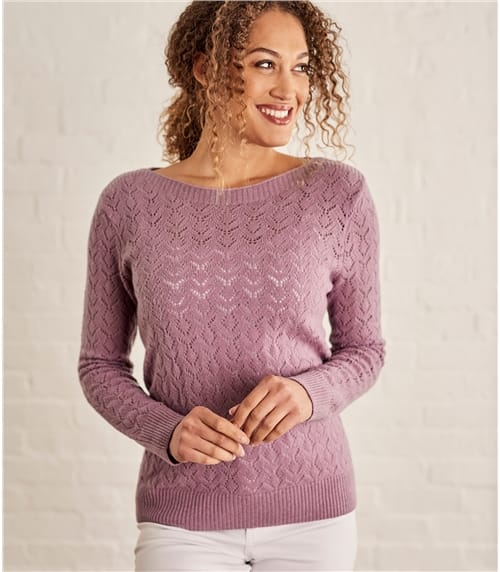Womens Wool Alpaca Pointelle Boat Neck Jumper