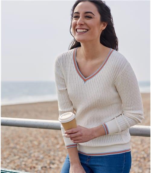 Pullover mit Zopfmuster und farbigem Saum aus Kaschmir und Baumwolle für Damen