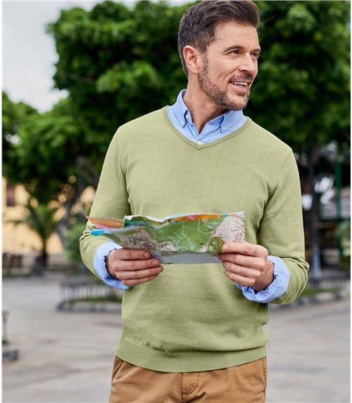 Pullover mit V-Ausschnit aus Baumwolle für Herren