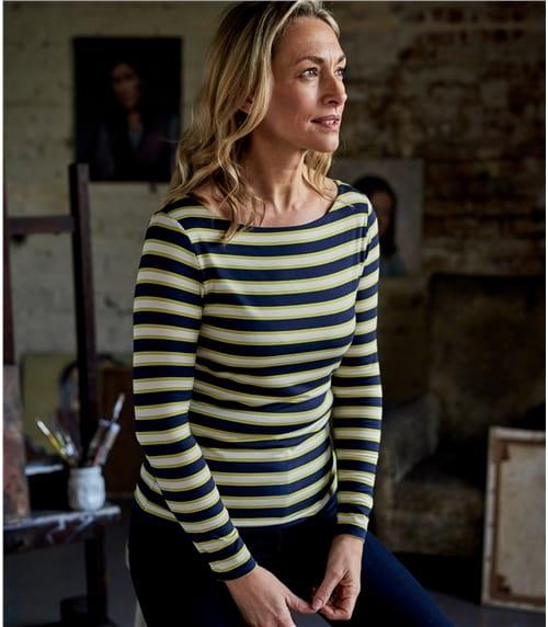 Jersey T- Shirt mit U-Bootausschnitt aus Viskose mit geringem Elastananteil für Damen