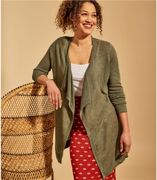 Womens Linen Blend Tie Back Cardigan