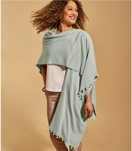 Womens Cotton Pom Pom Wrap
