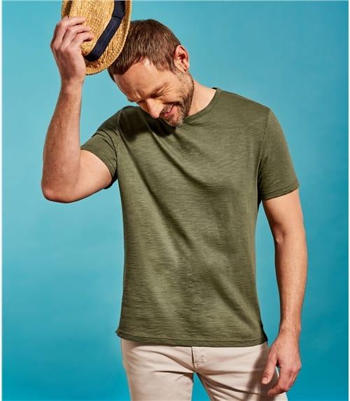 Lockeres T-Shirt mit Rundhalsausschnitt aus Baumwolle für Herren