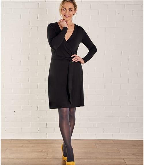 Jersey Wickelkleid aus Baumwolle mit geringem Elastananteil für Damen