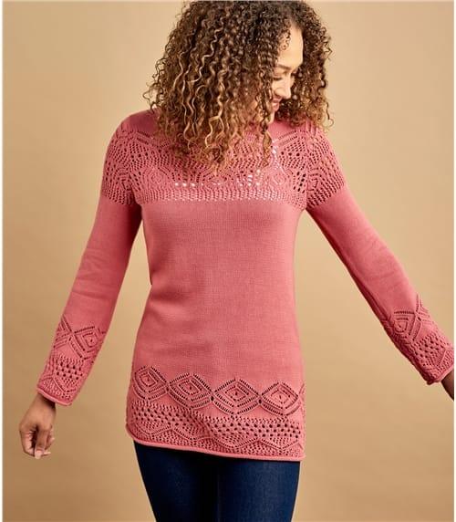 Womens 100% Cotton Pointelle Crew Neck Sweater