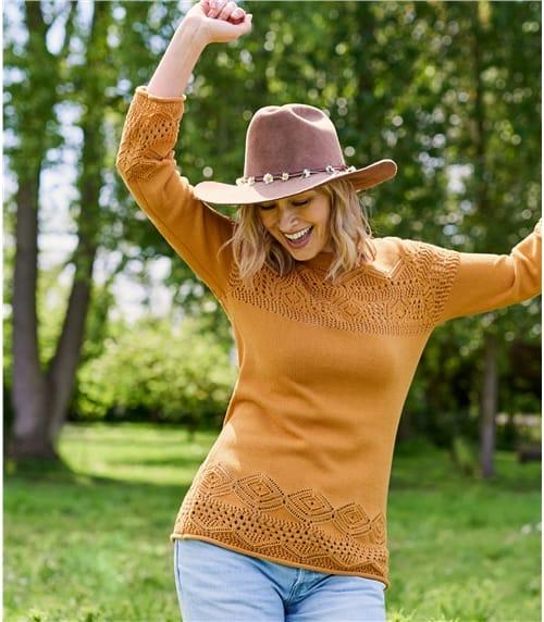 Pullover mit Rundhalsausschnitt und Pointelle Detail aus Baumwolle für Damen