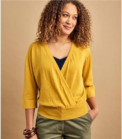 Womens Linen & Cotton Blend Kimono Sleeve Top