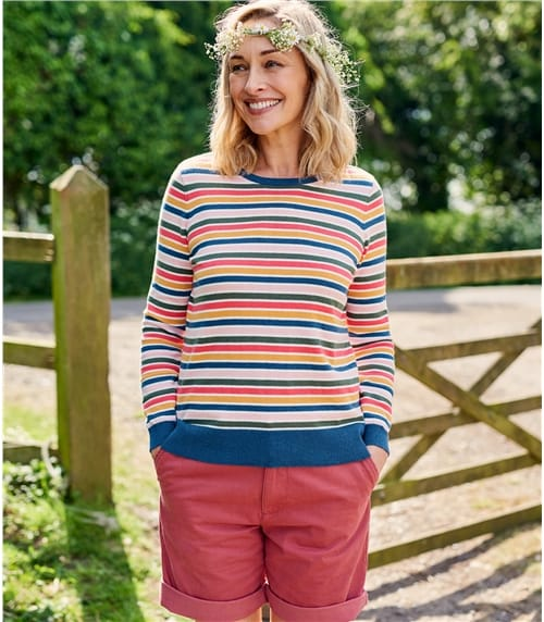 Womens Cotton & Cashmere Blend Multi Stripe Sweater