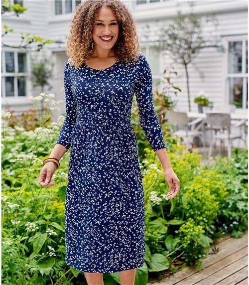 Jersey Kleid mit geraffte Taille für Damen